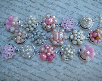 Bridesmaid Bracelets, Set of 3, Vintage Earring Bracelets, Wedding, Rustic Wedding, Vintage Wedding, Garden Wedding, Pink Blush White  /W14