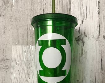 Green lantern, superhero, cup