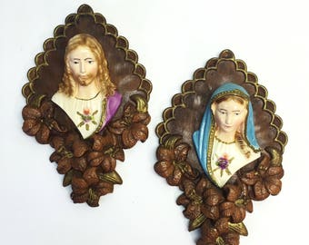 Vintage Sacred Heart Chalkware Mary and Jesus Christ Bust Wall Mount Decor Kitsch
