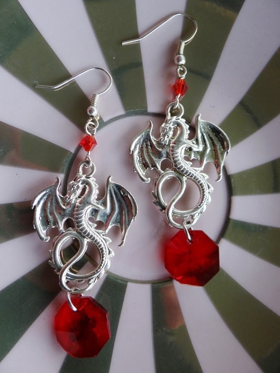 Dragon Earrings Goth Gothic Dragons Wicca Pagan Fantasy Wiccan Chinese Lucky Dragon New Year