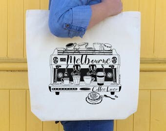 Melbourne Coffee Lover illustrated screen printed tote bag, Coffee Machine Print, Coffee Lover Gift