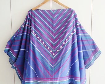Sun Poncho, Summer Cover Up, Retro Kaftan, Festival Fashion, One Size