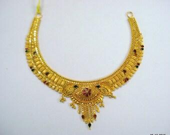 Traditional design 22kt gold necklace handmade gold choker filigree work