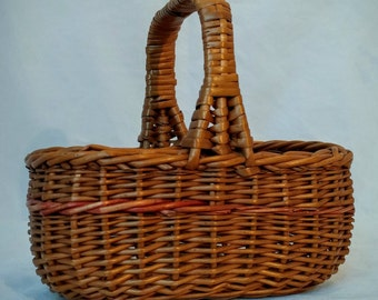 Precious 1940s Doll Basket, Vintage Minature Basket, Vintage Doll Accessory, Antique Doll Basket