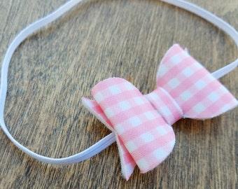 Gingham hair bow, gingham headband, baby hair bow, pink bow headband, white bow headband, hair bow, baby girl headband, vintage headband