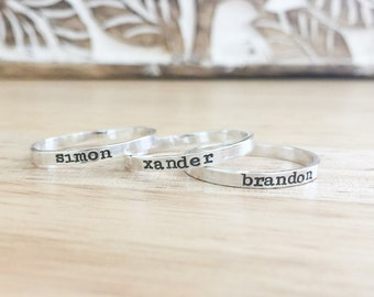 Skinny Silver Ring -  Silver Stacking Rings - Silver Name Rings - Stacking Name Rings - Personalized Ring - Stackable Rings - Stamped