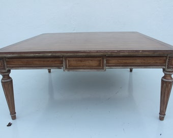 Italian Antique  Hand Carved Solid  Wood Square Coffee Table .