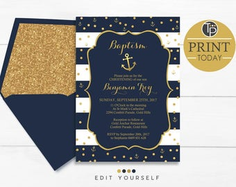 NAUTICAL Baptism Invitation, Instant Download, Boy Baptism Invitation, Nautical Naming Day invitation, Nautical Christening invitation, Gold