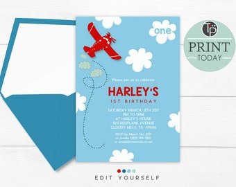 PLANE INVITATION, Instant Download, Plane 1st Birthday Invitation, Red Plane Party Invitation, Boy 1st Birthday Invitation, Jet Invitations