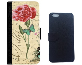 Vintage Flower on Leather Wallet Cover for iPhone iPhone 7/7+, 6/6+ 5/5s, 4/4s and Galaxy Note 5,4,3,2, Galaxy S7,S6,S5,S4 Cellphone Cover