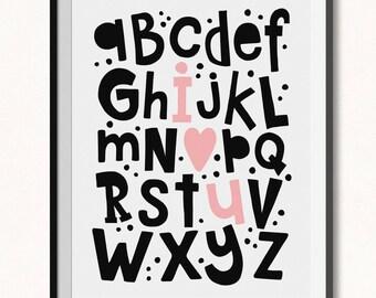 I Love You Alphabet Print / DIGITAL / I hear you Alphabet Printable / I love you Abc's Print / ABC Print / Love Alphabet Poster / Abc's Art
