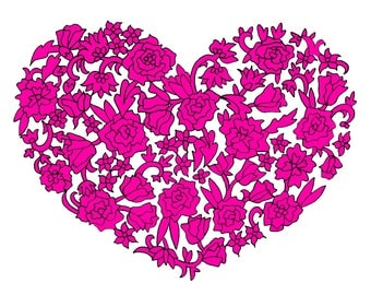 Pink Floral Heart Greeting Card