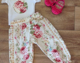 Baby Girls Pants, baby Harem Pants and Top Set,  Size 1 , Vintage Rose, handmade baby pants, ready to ship.