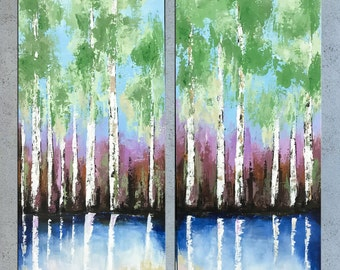 Birch Tree Painting, Abstract Palette knife Landscape, Acrylic Impasto, Contemporary Aspen Forest Painting, Modern wall art Home Decor.