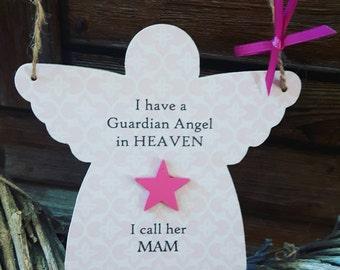 Personalised Handmade Angel - wooden hanging angel