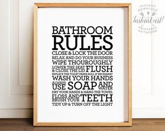 Bathroom rules sign, PRINTABLE art, Bathroom decor, Bathroom printable art, Flush toilet sign, Wash hands sign, Kids bathroom art, Art print