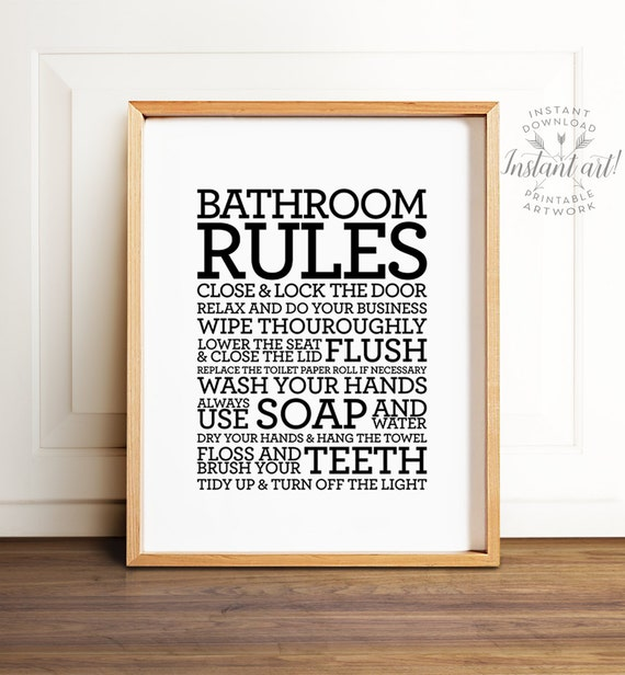 bathroom rules sign printable art bathroom decor bathroom. Black Bedroom Furniture Sets. Home Design Ideas