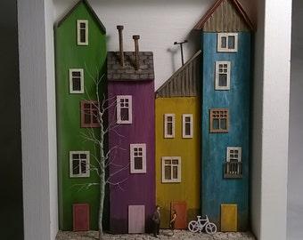 Framed Miniature Wood Houses Diorama
