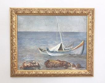 Impressionist Sailboat Original Antique Oil Painting Signed Framed