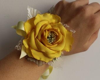 Wedding Wrist Corsage-Yellow Flower Corsage-bright yellow Rose Wrist Corsage-Bride Bridesmaid Corsage-Prom Flower Corsage-Fabric Corsage