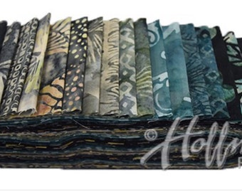 "Bali Poppy ""Storm"" by Hoffman Fabrics-20 strips of 2 1/2"" fabric strips -jelly roll - BPP-147 - hand dyed fabric,  batik fabric"