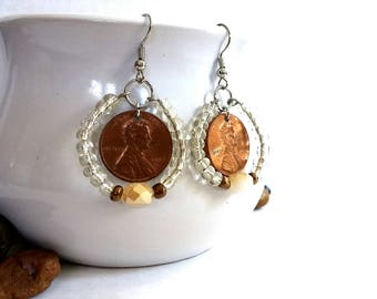 Abe Lincoln, Abolitionist Earrings, Jewelry with a Cause, Copper Earrings