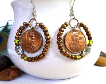 Silver Leaf, Abolitionist Earrings, Coin Jewelry, Jewelry with a Cause