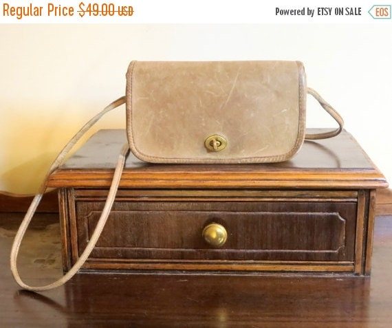 Football Days Sale Coach NYC Dinky Bag In Putty (Tabac ?) Leather - Distressed-  But Very Cool