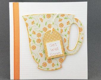 Handmade Get Well Orange Teacup  Card