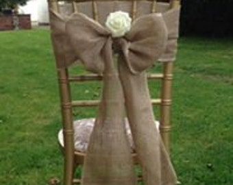 Hessian/Burlap Chair Sashes  To Bow, 2.5m , Various Designs With Overlocked Edges Pack Of 50