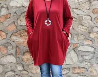 Ladies Lagenlook Plus Size Tunic Top 14 16 18 20 22 24 26 28  XL Wine/Red/Burgundy L36