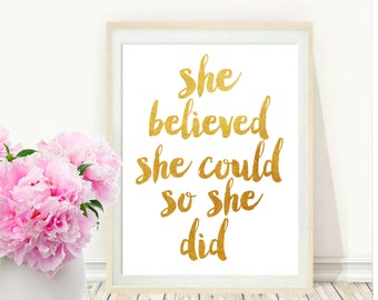 Printable Wall Art, She Believed She Could Print, Typography Art, Inspirational Print,  Instant Download