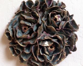 Ceramic Flowers Wall Tile, Turquoise Flowers Wall Art, Organic Design, Ceramic Decor, Home Decor