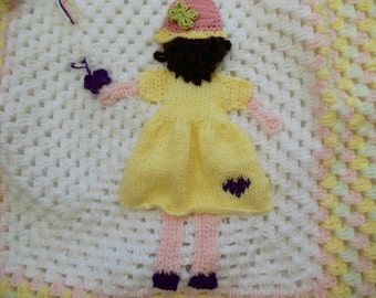 Personalised Crochet Baby Blanket with Unique Girl and Butterfly Applique Ideal Christening, Baby Shower Gift White Pink Lemon Mint
