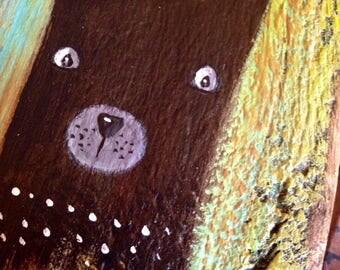 Black bear whimsical folk art painting on reclaimed wood rustic wall art ooak original outsider Artist A. Gambrel woodland