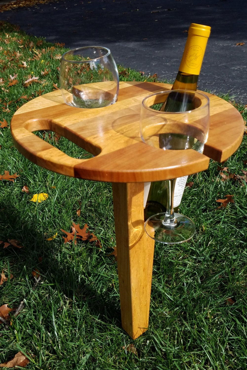 Portable Folding Wine Table Picnic Wine table by MRWoodCrafting