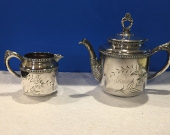 Vintage Columbian Quadruple Plate Silver Teapot and Creamer