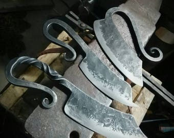 """Sale Price!!! Hand forged set of """"soft"""" kitchen knives (3)."""