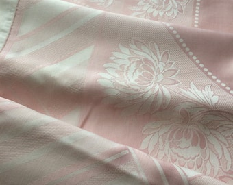 Vintage Pink & White High-Sheen Double Damask Tablecloth~Hemstitching~87x70~Chrysanthemum Blossoms~Deco Geometry~Mums~Luscious Fabric