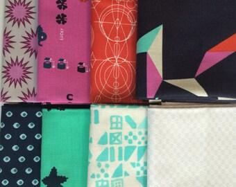 Fat Quarter Bundle- Gender Neutral Bold- Geometric Destash Fabric Quilting Bundle