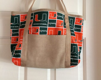 University of Miami tote bag, other teams may be available, send message for info