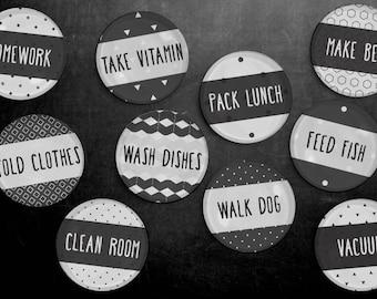 Chore Magnet Set - Chores, To Do List, Household Tasks, Kitchen, Responsibilities, Fridge Magnets, Kids Chores, duty, household, housework