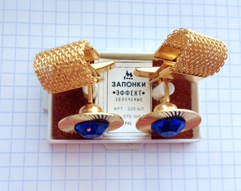 """Blue stones russian vintage cufflinks, soviet gilded gold-plated Cuff Links """"Effect"""""""