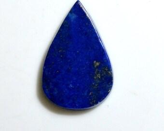 AAA Quality 38 ct. Gold~Marks Natural Lapis Lazuli Pear Shape 37x24x4 mm Rare Handmade Cabochon Loose Gemstone