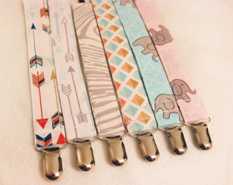 Pacifier Clip, Universal Paci Clip, Binky Holder, Soothie Clip - Baby Elephant, Arrows, Woodgrain - Tethered by OctoBitzy