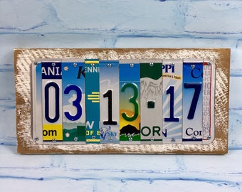 Anniversary Gift -- Wedding Gift-- CUSTOMIZED-- Custom-- Unique License Plate Signs-- Wedding Present or Anniversary Present-- Upcycled