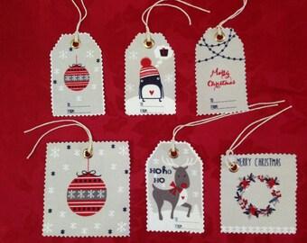 Fabric Xmas Gift Tags (Set of 6)
