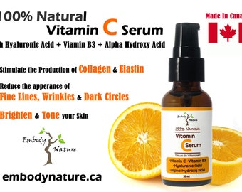 100% Natural Vitamin C Serum, Anti-Oxidant Serum, Anti-Aging Serum