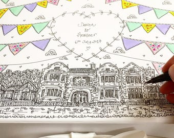 Wedding Keepsake Box. Hand Illustrated. Bunting and Wedding Venue. Summer Wedding. Memory Box.