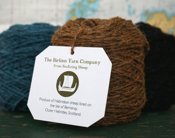 Organic Dyed Pure Wool Hebridean/Cheviot Blended knitting yarn: MONADH - MOOR (Russet Orange)
